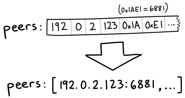 diagram showing how 192, 0, 2, 123, 0x1A, 0xE1 can be interpreted as 192.0.1.123:6881