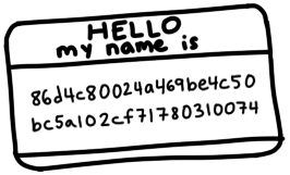 a name tag saying 'Hello my name is 86d4c80024a469be4c50bc5a102cf71780310074'