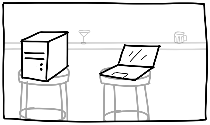 illustration of a desktop computer and laptop sitting at a pub